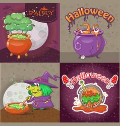 cauldron pot banner concept set cartoon style vector image