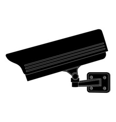 Cctv security camera side view black outline vector