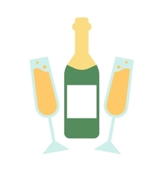 Champagne bottle and glasses flat vector