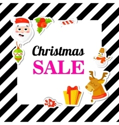 Christmas sale poster banner with stickers vector
