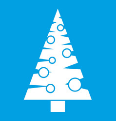 Christmas tree icon white vector