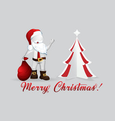 christmas tree santa claus -3d small people vector image