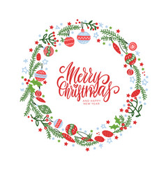christmas wreath with berries spruce branches vector image