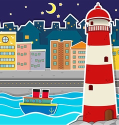 City scene with lighthouse and river at night vector