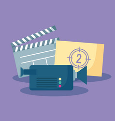 Clapboard with camera and counter of cinema vector