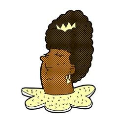 Comic cartoon queen head vector