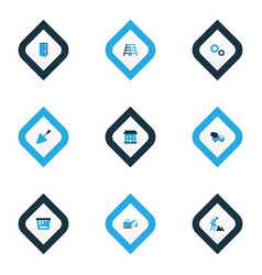construction icons colored set with door bucket vector image