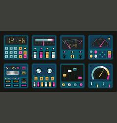 Control panels retro pc and radio dashboard vector