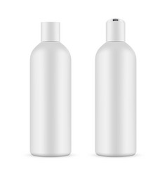 Cosmetic bottle mockup with opened and closed cap vector