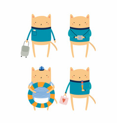 Cute cat on summer holidays vector