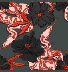 Dangerous garden snake pattern reptile and peony vector