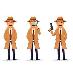 Detective in hat and coat handsome character vector