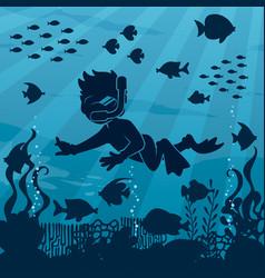 diver boy undersea 4 vector image