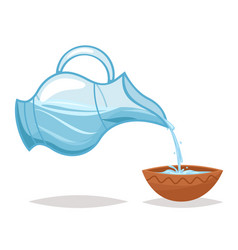 drink water pour glass jug bowl cartoon icon vine vector image