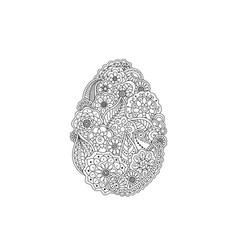 easter egg from floral doodle element - line art vector image