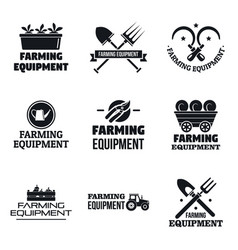 farming garden equipment logo set simple style vector image