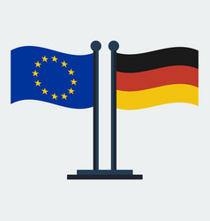 flag of germany and european unionflag stand vector image