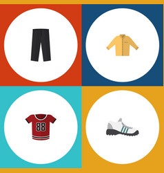flat icon clothes set of banyan pants sneakers vector image