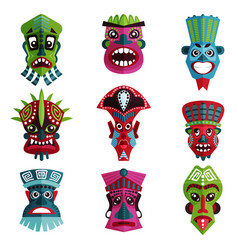 flat set of colorful zulu masks with vector image