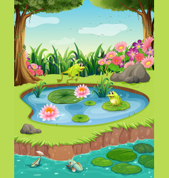 Frogs and fish in the pond vector