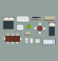 furniture top view living apartment modern design vector image