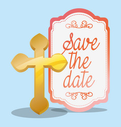 Golden cross save the date wedding greeting vector