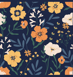 gorgeous seamless pattern with anemones on black vector image