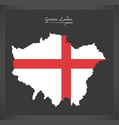 Greater london map with flag of england vector