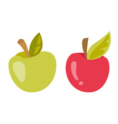 green and red apple cartoon vector image