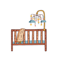 Hand drawn colorful childish cot flat vector