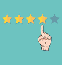 hand pointing at one of five stars rating vector image