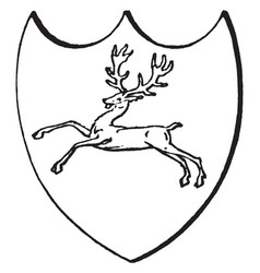Hart at speed on heraldic badge is a common vector