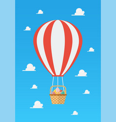 hot air balloon with basket full easter eggs vector image