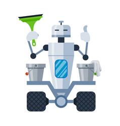 Humanoid robot washer holding squeegee bucket vector