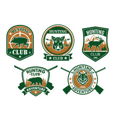 hunting club sporting badge set design vector image