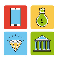 icons set analytic and investments vector image