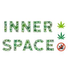 inner space label mosaic of hemp leaves vector image