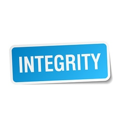 Integrity blue square sticker isolated on white vector