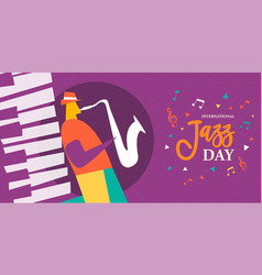 International jazz day poster of saxophone player vector