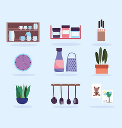 kitchen interior utensils products tableware and vector image
