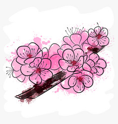 landscape with sakura branches vector image