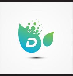 leaf design with d letter symbol design minimalist vector image