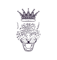 leopard roar face or head with crown hand drawn vector image