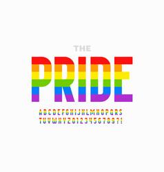 lgbtq rainbow flag colors pride font alphabet vector image