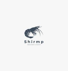 logo shrimp silhouette style vector image