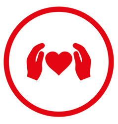 Love care hands rounded icon vector