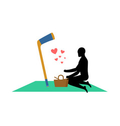 Lover hockey guy and hockey stick on picnic meal vector