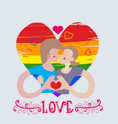 loving couple kissing pair of boys gay on heart vector image