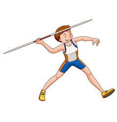 Man athlete doing javelin vector