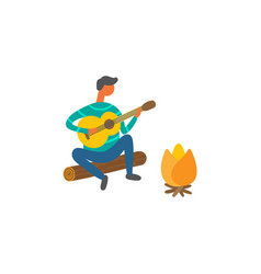 man near bonfire singing songs and plays on guitar vector image